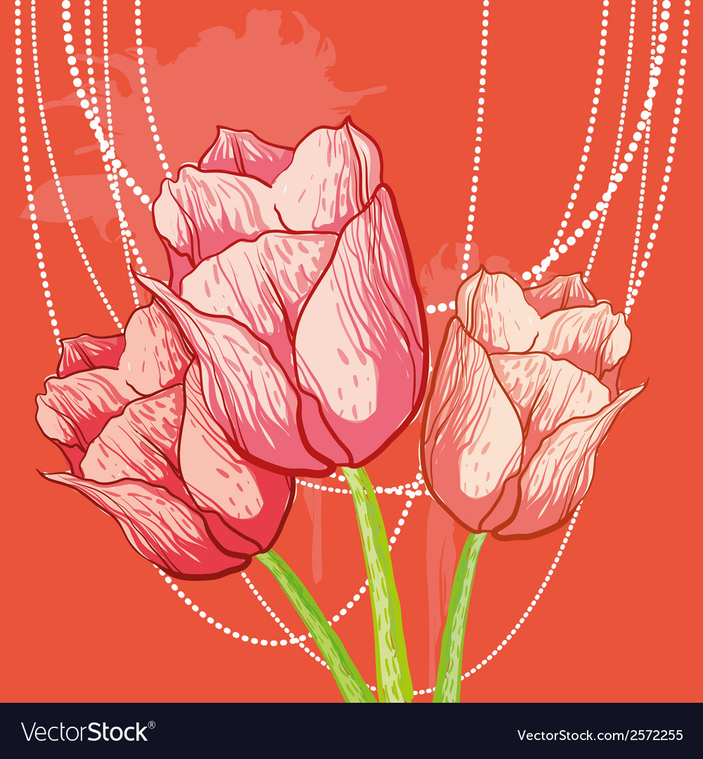 Tulip background with peal beads vector | Price: 1 Credit (USD $1)