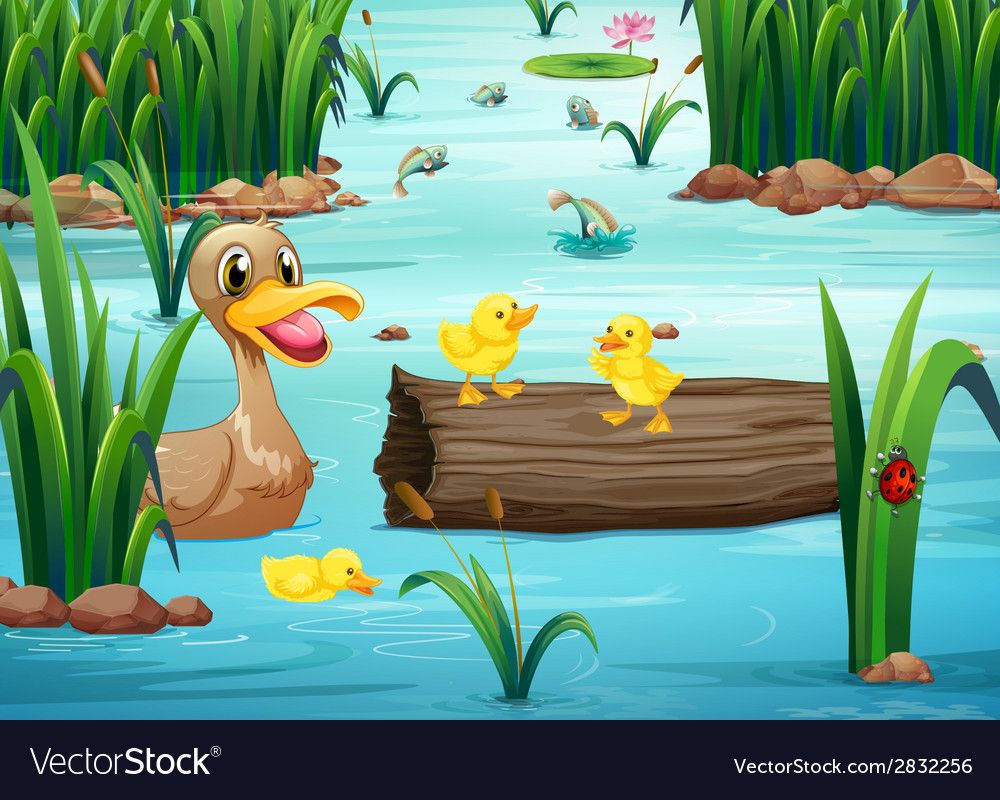 A pond with animals vector | Price: 1 Credit (USD $1)