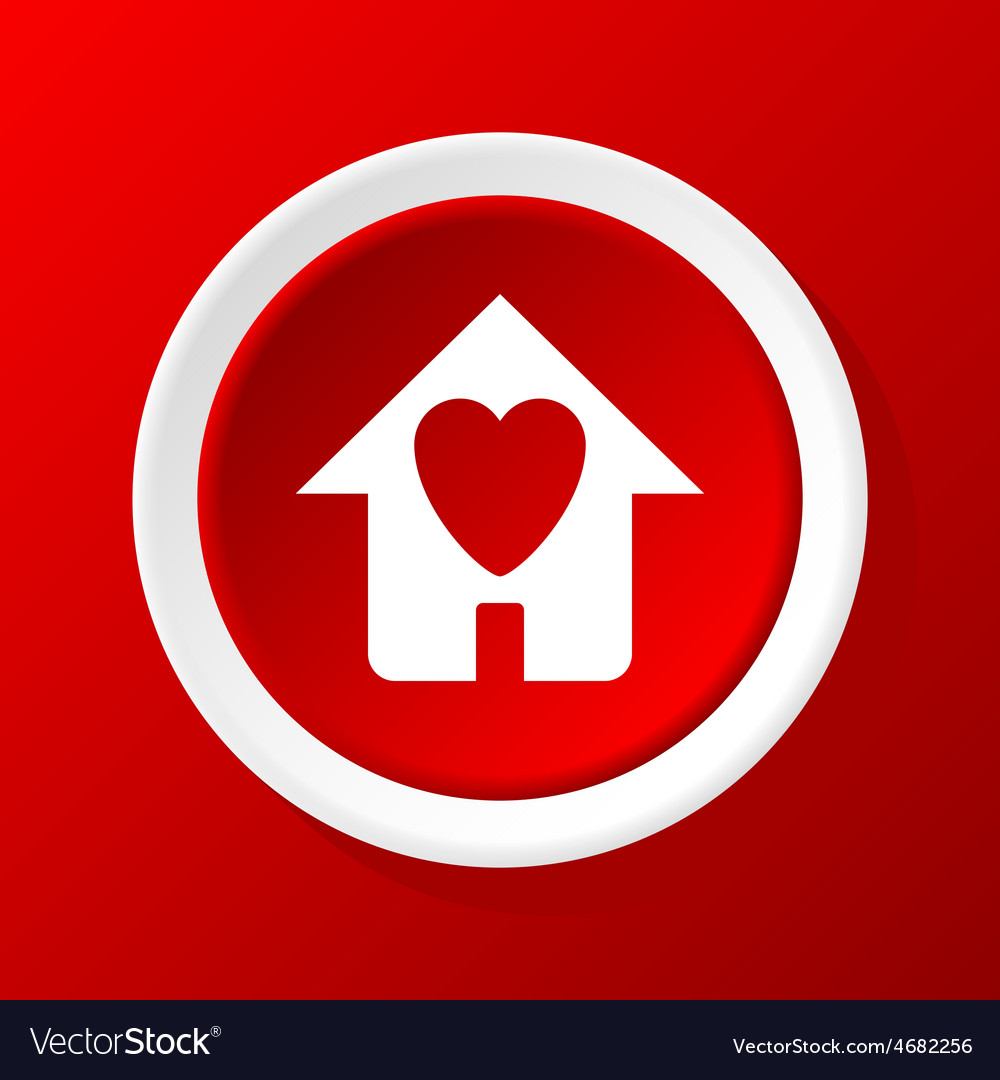Beloved house icon on red vector | Price: 1 Credit (USD $1)