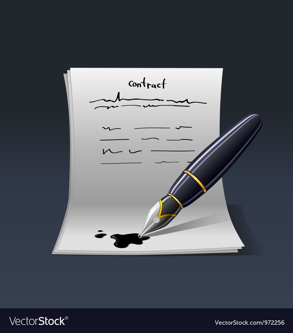 Blank note paper with pen contract vector | Price: 3 Credit (USD $3)