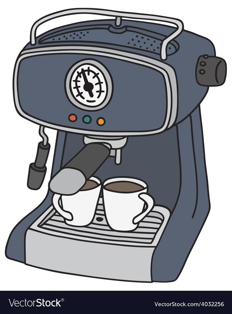 Blue electric espresso maker vector | Price: 1 Credit (USD $1)