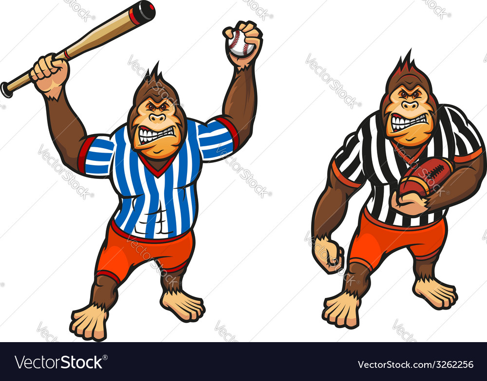 Cartoon gorilla playing baseball and rugby vector | Price: 1 Credit (USD $1)