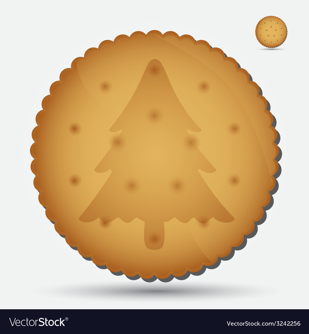 Christmas brown biscuit with tree symbol eps10 vector | Price: 1 Credit (USD $1)