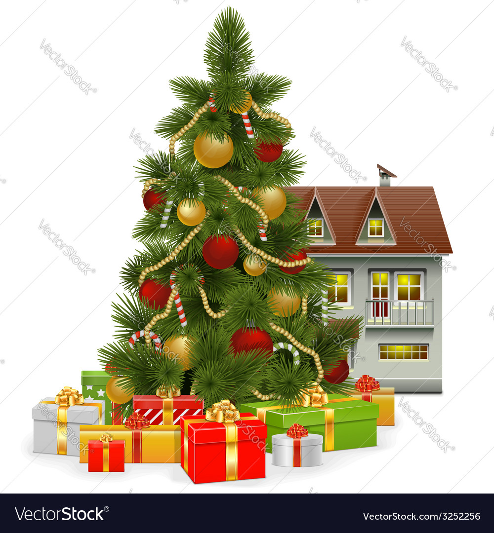 Christmas tree with house vector | Price: 3 Credit (USD $3)