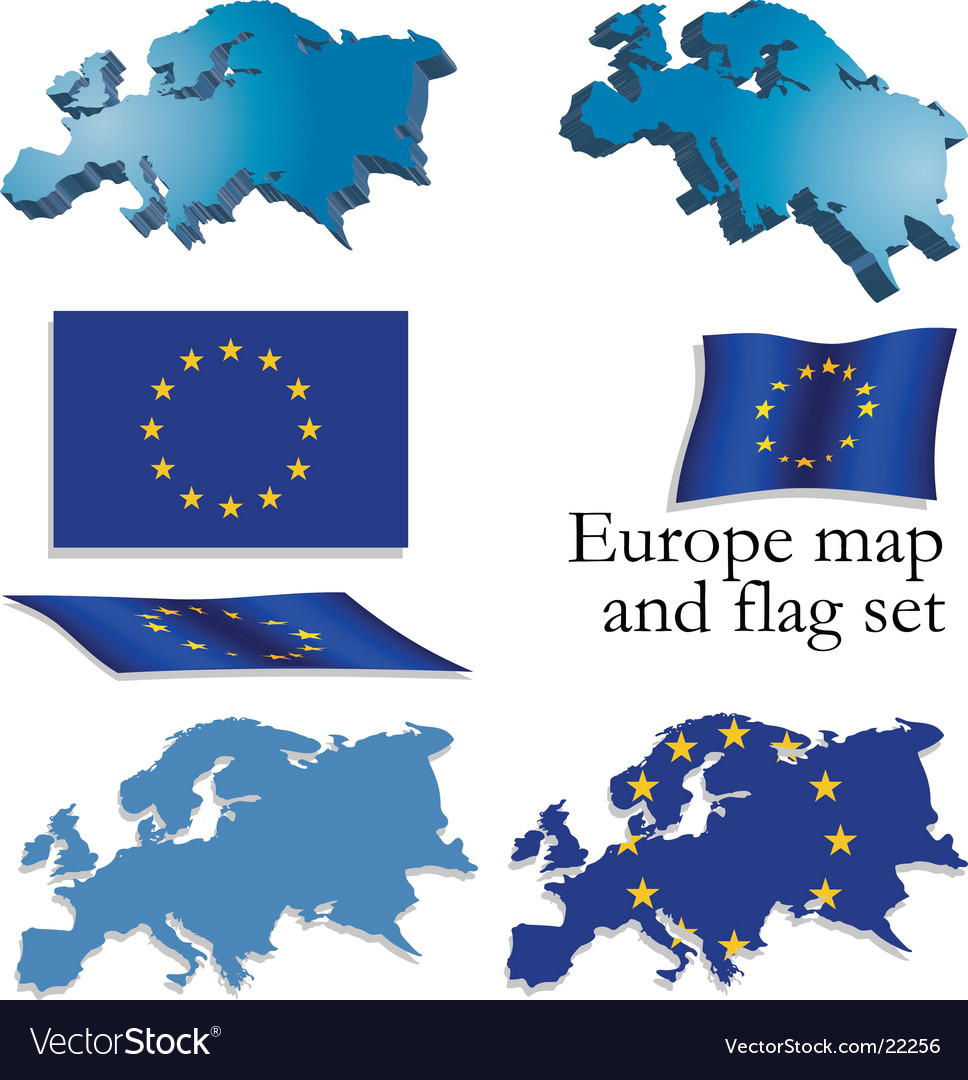 Europe map and flag set vector | Price: 1 Credit (USD $1)