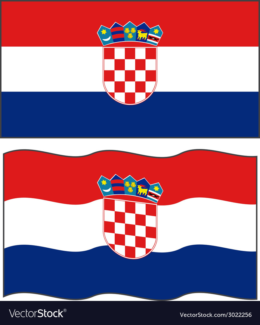 Flat and waving croatian flag vector | Price: 1 Credit (USD $1)