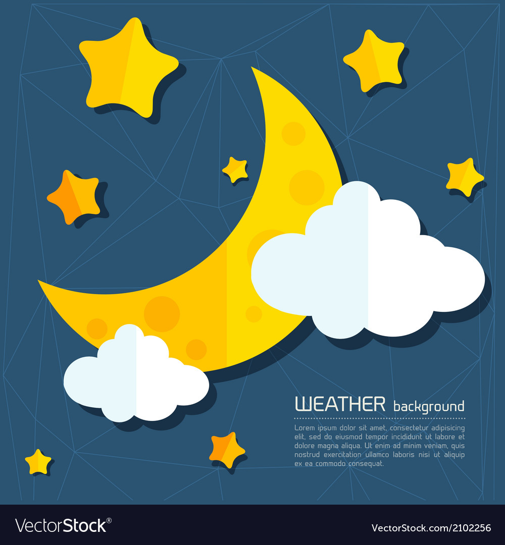 Modern weather background with moon and clouds vector | Price: 1 Credit (USD $1)