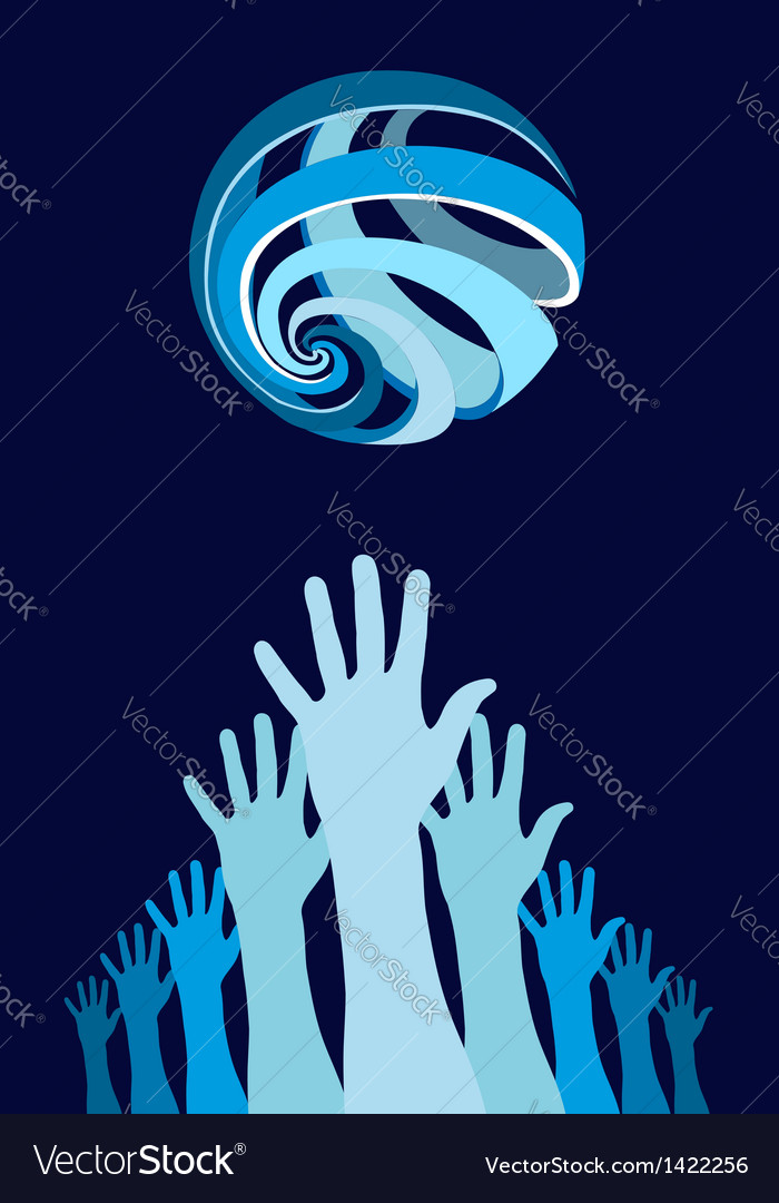Raised hands world globe vector | Price: 1 Credit (USD $1)