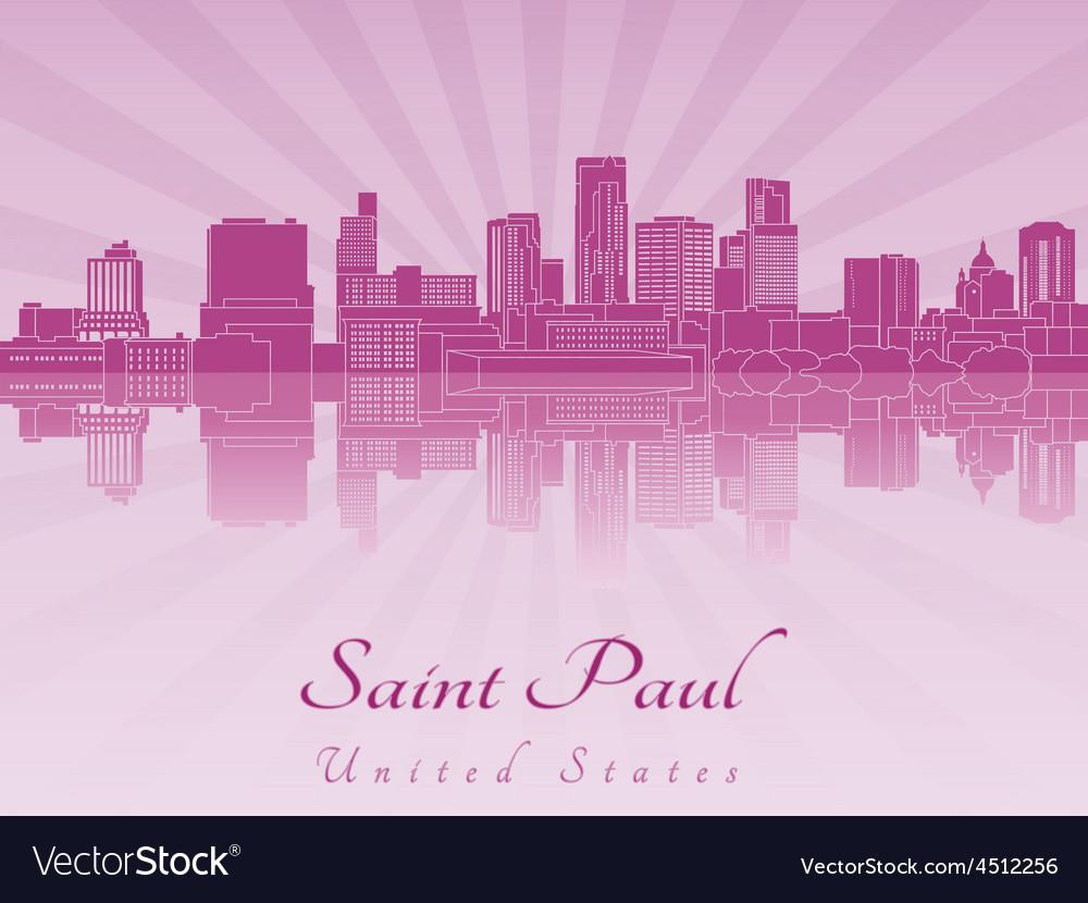 Saint paul skyline in purple radiant orchid vector | Price: 1 Credit (USD $1)