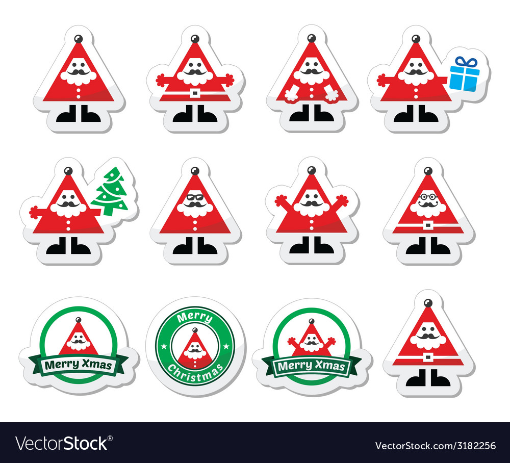 Santa claus icons merry christmas icon labels vector | Price: 1 Credit (USD $1)