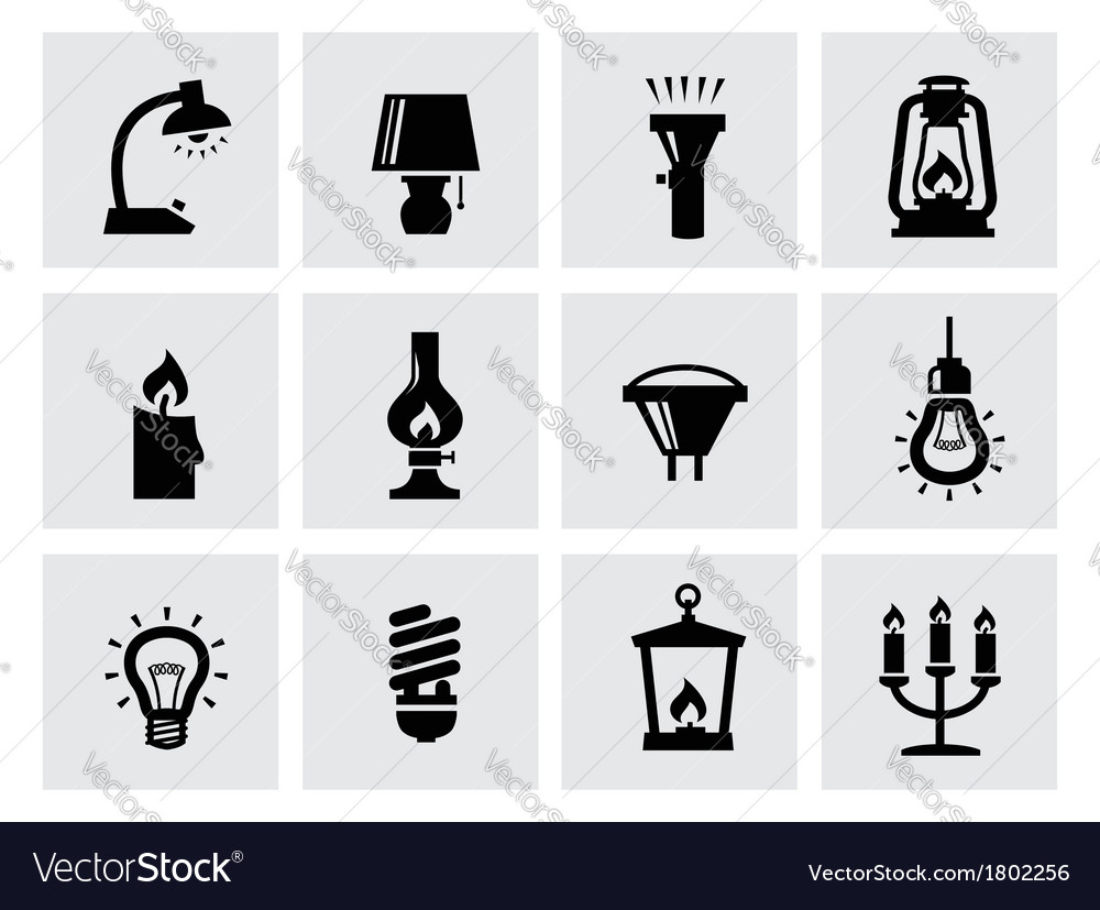 Various lighting icons of lamps on white vector | Price: 1 Credit (USD $1)