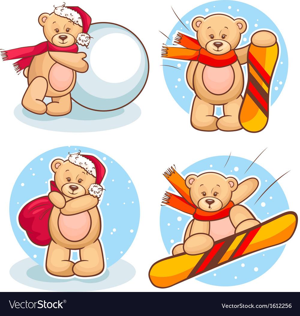 Winter teddy bears set vector | Price: 1 Credit (USD $1)