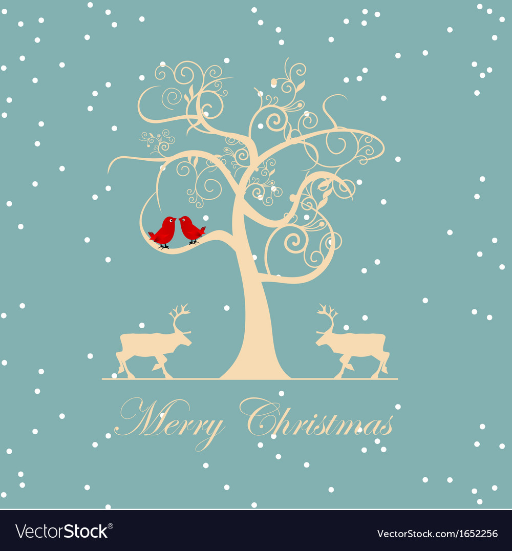 Winter tree with birds vector | Price: 1 Credit (USD $1)