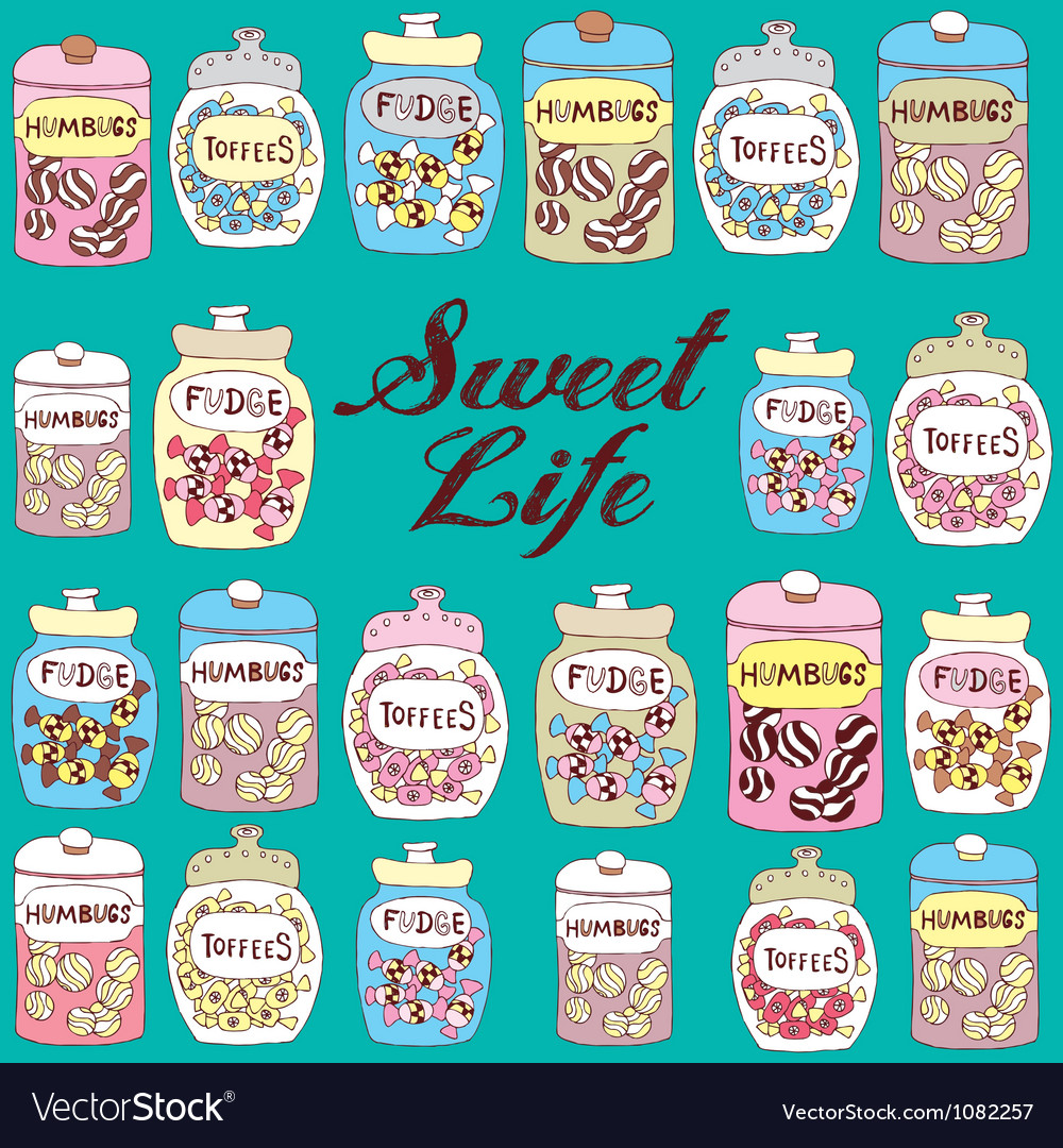 Candy jars background vector | Price: 1 Credit (USD $1)