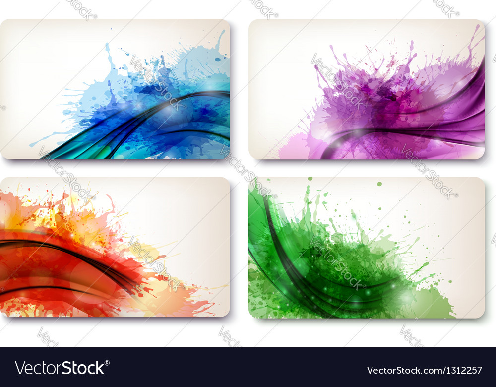 Collection of colorful abstract watercolor cards vector | Price: 1 Credit (USD $1)