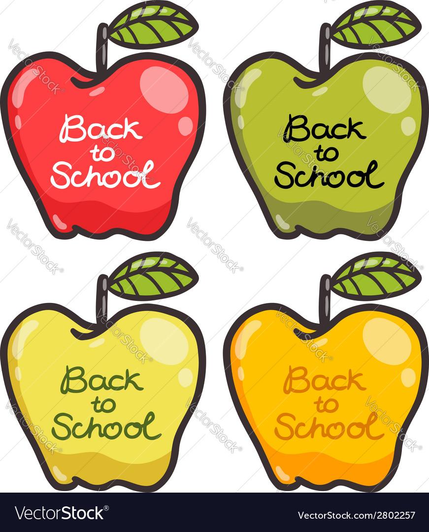 Cute cartoon apples back to school vector | Price: 1 Credit (USD $1)