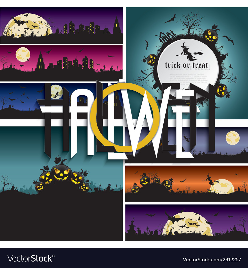Et of halloween backgrounds banners with art text vector | Price: 3 Credit (USD $3)