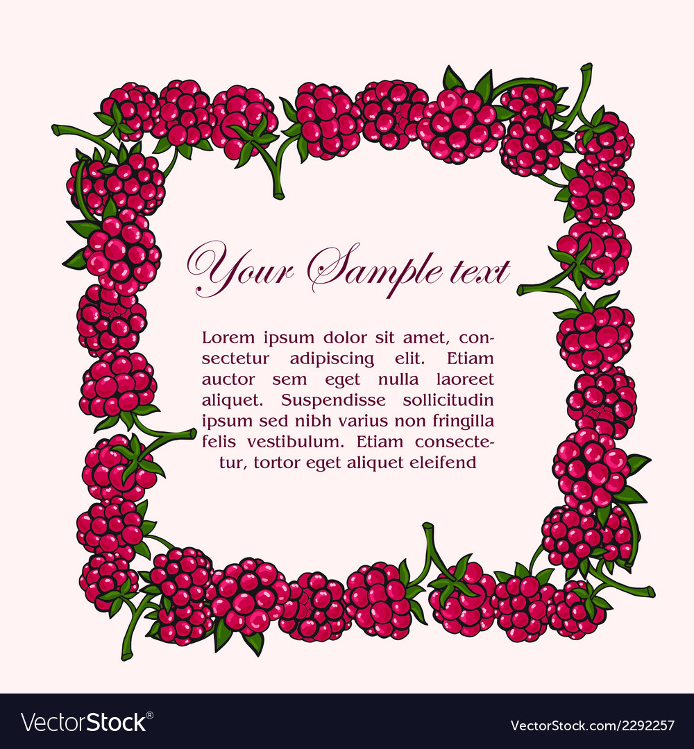 Frame of raspberries vector | Price: 1 Credit (USD $1)