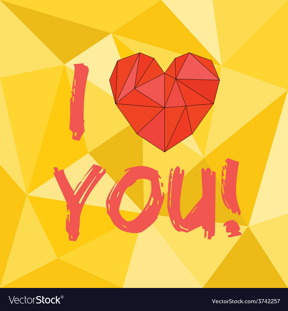 I love you heart with yellow background vector | Price: 1 Credit (USD $1)