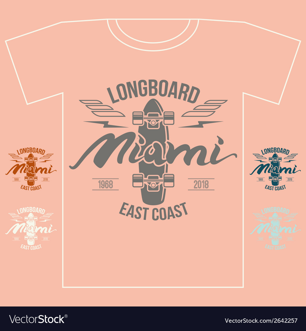 Longboard emblem girls retro print vector | Price: 1 Credit (USD $1)