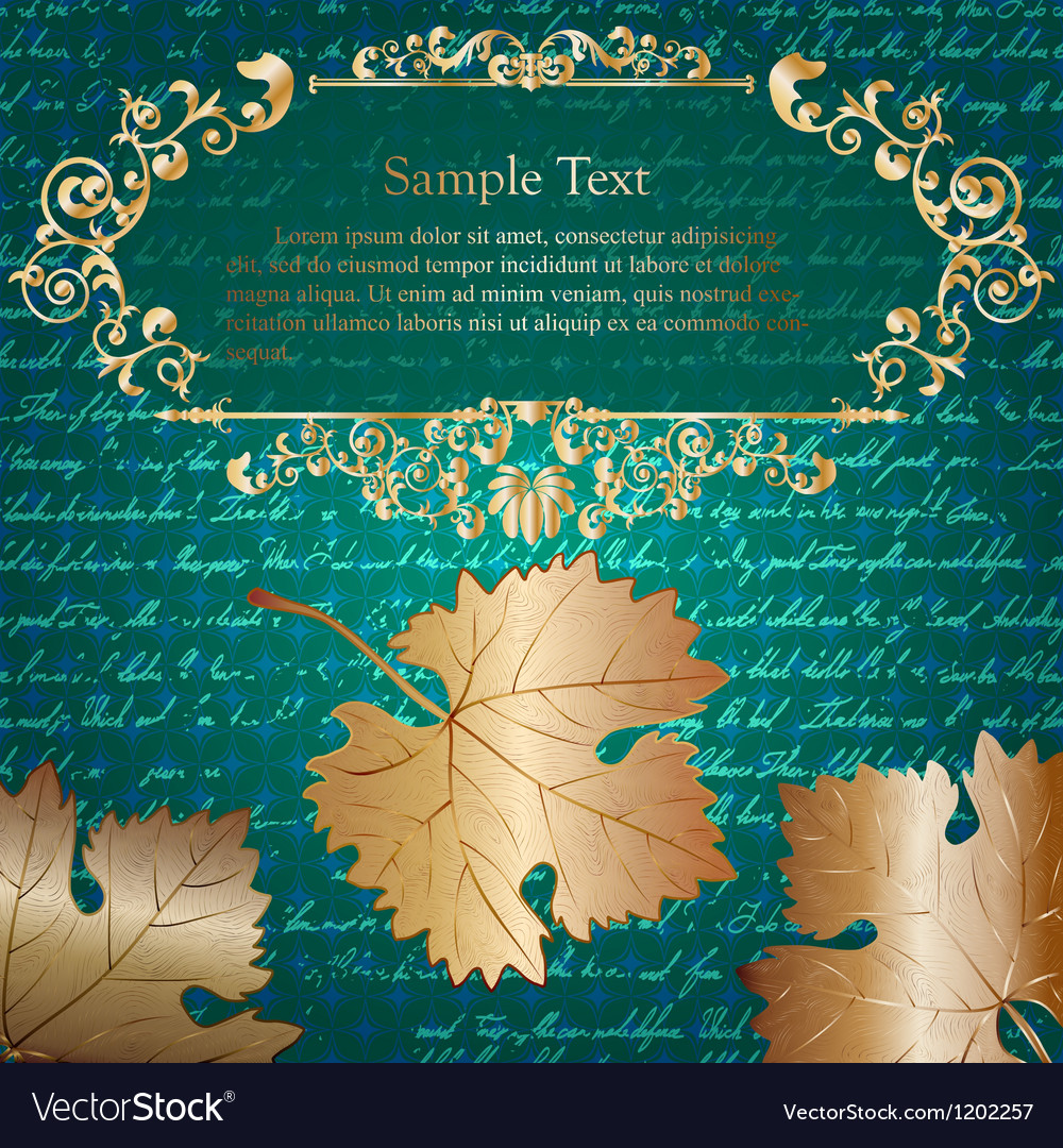 Retro card with autumn leaves and place for text vector | Price: 1 Credit (USD $1)