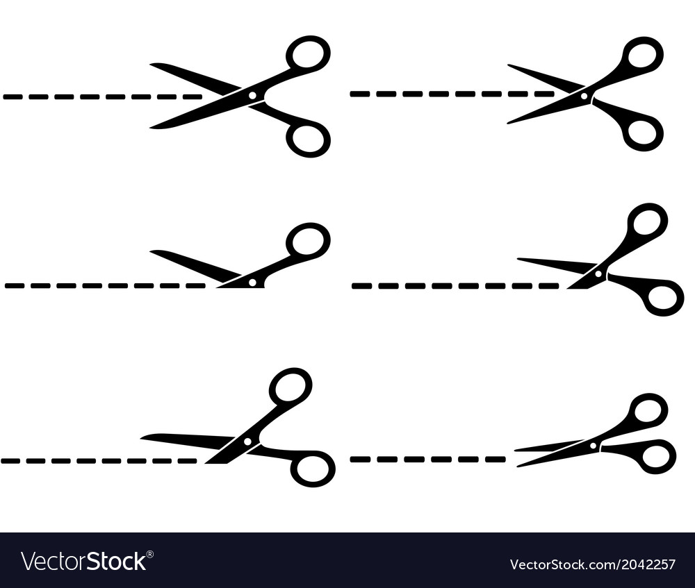 Scissors with cut lines vector | Price: 1 Credit (USD $1)