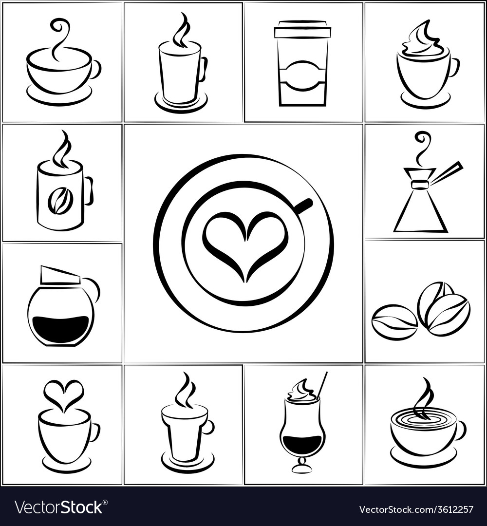 Set of freehand doodle sketch coffee icons vector | Price: 1 Credit (USD $1)