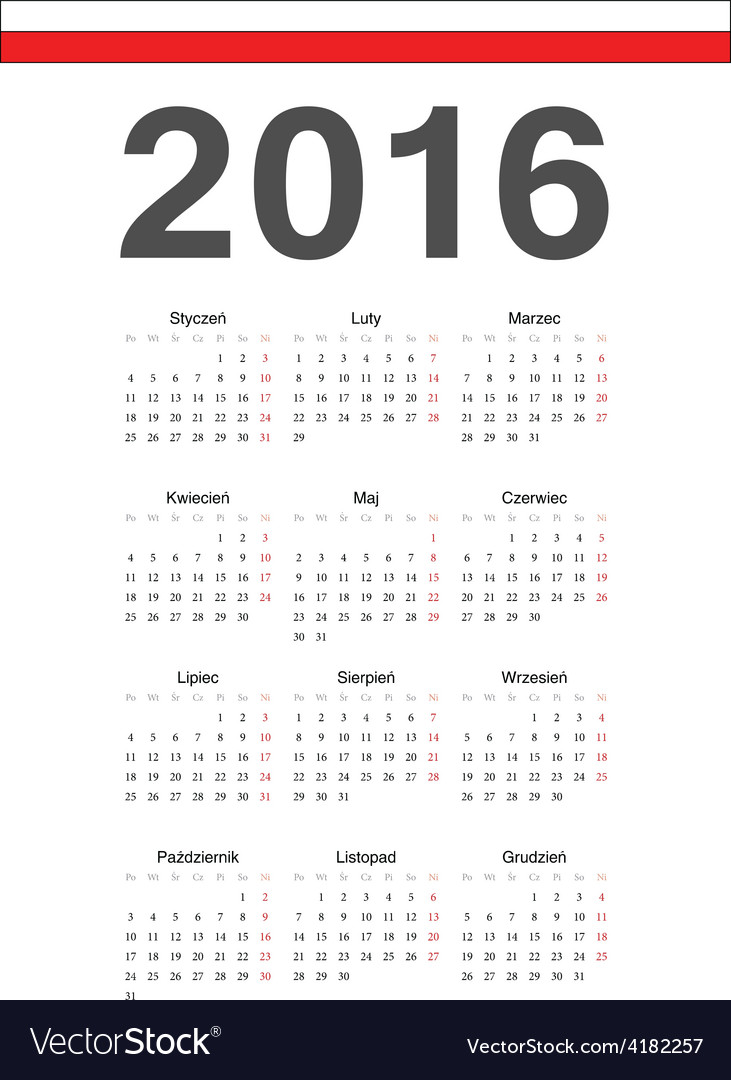 Simple polish 2016 year calendar vector | Price: 1 Credit (USD $1)