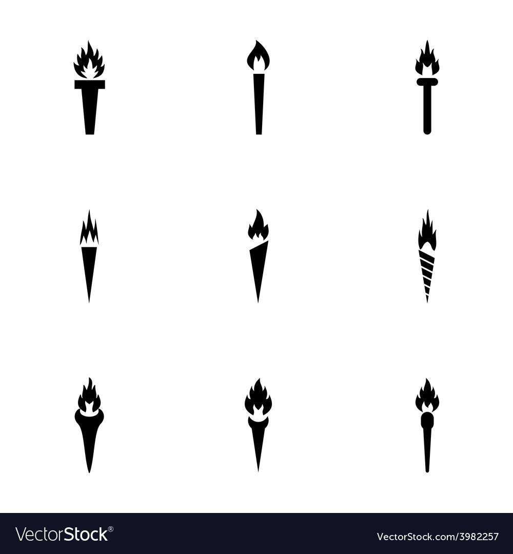 Torch icon set vector | Price: 1 Credit (USD $1)