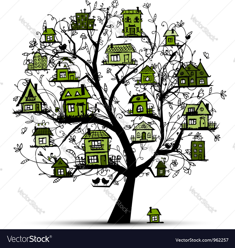 Tree with green houses on branches vector | Price: 1 Credit (USD $1)