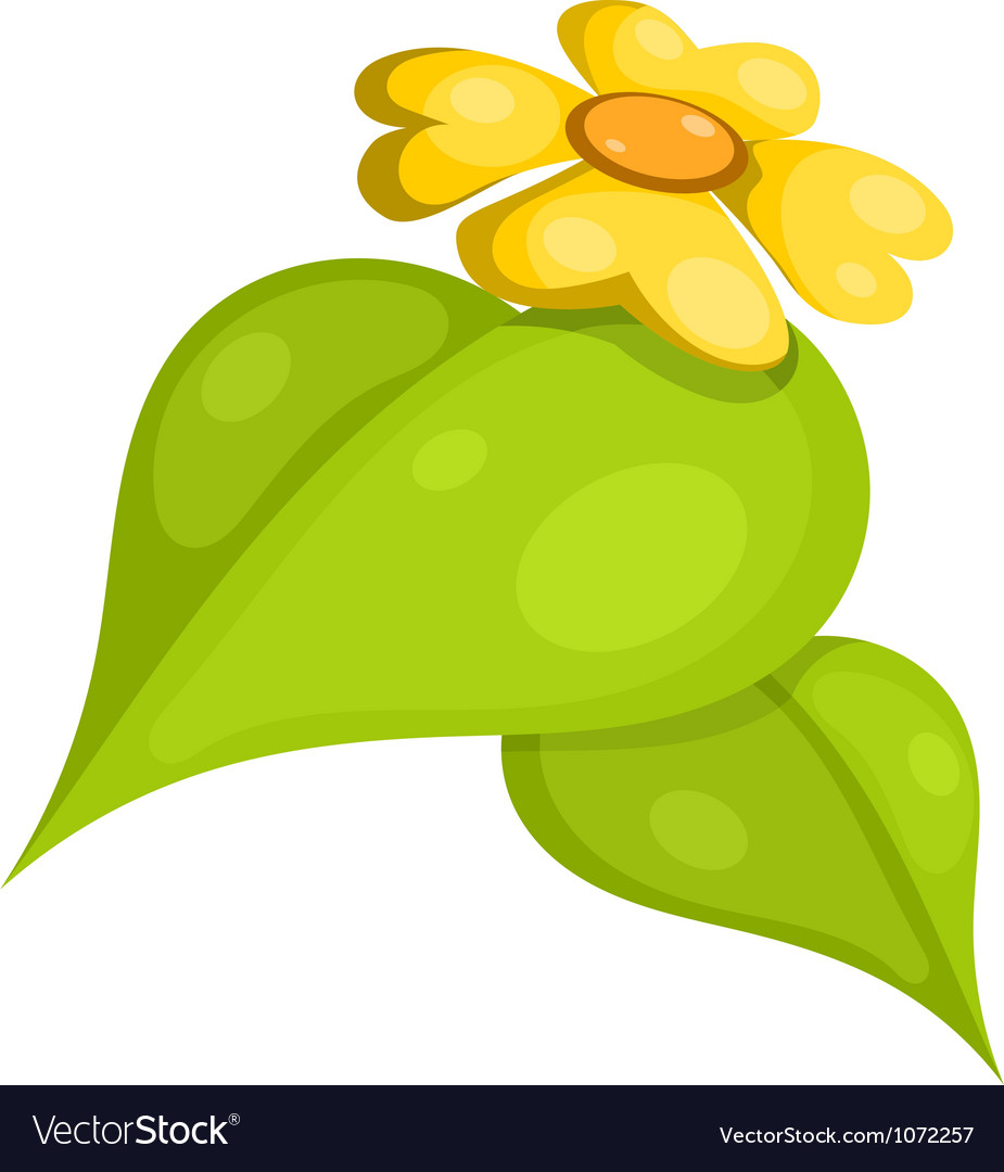 Yellow flower with leaves cartoon eps10 vector | Price: 1 Credit (USD $1)
