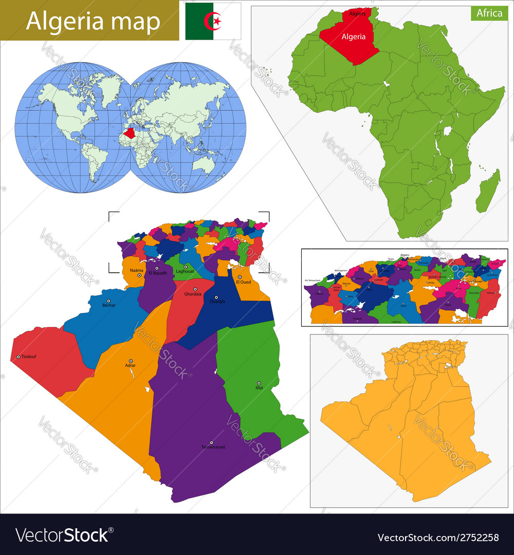 Algeria map vector | Price: 1 Credit (USD $1)