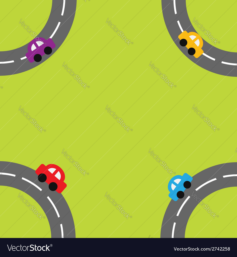Background with roads and cartoon cars in the corn vector | Price: 1 Credit (USD $1)