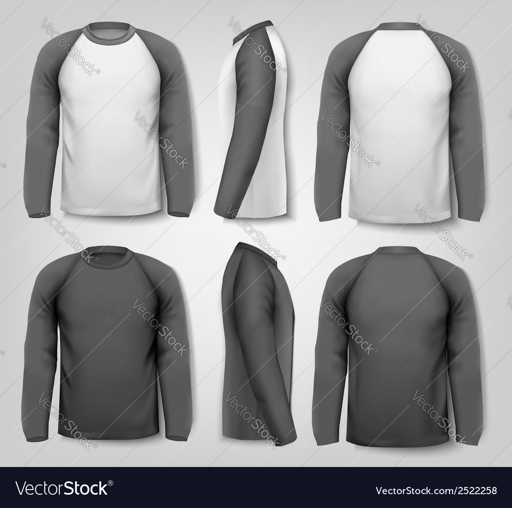 Black and white male long sleeved shirts with vector | Price: 1 Credit (USD $1)