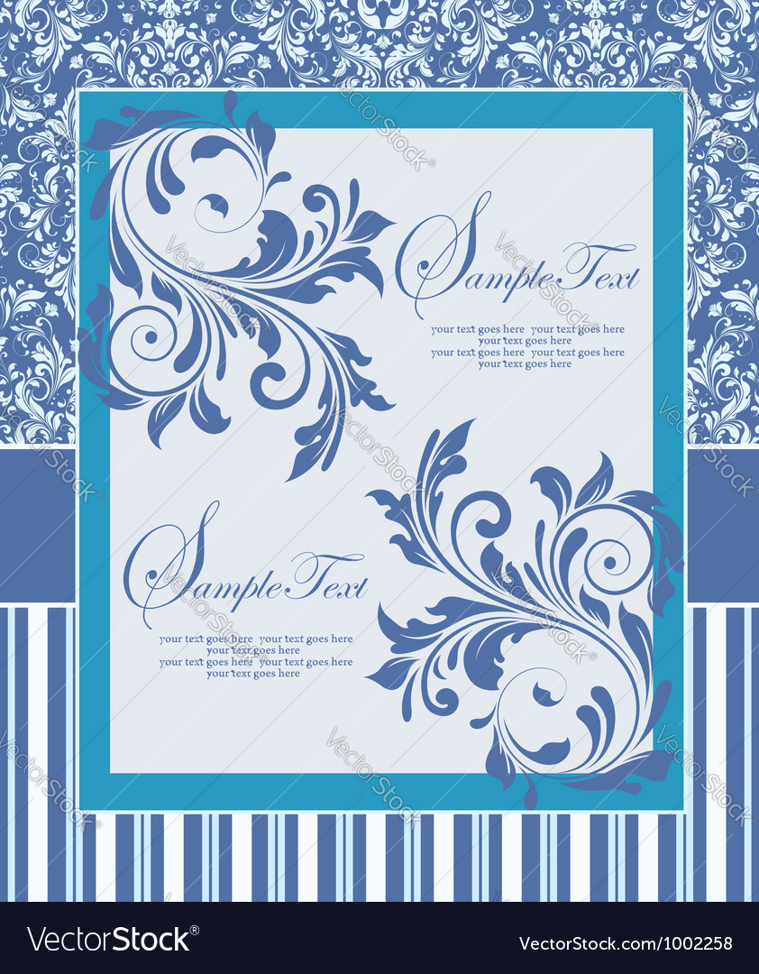 Blue wedding card vector | Price: 1 Credit (USD $1)