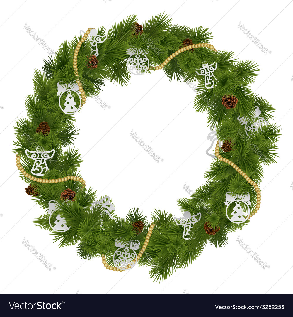 Christmas wreath with decorations vector | Price: 1 Credit (USD $1)