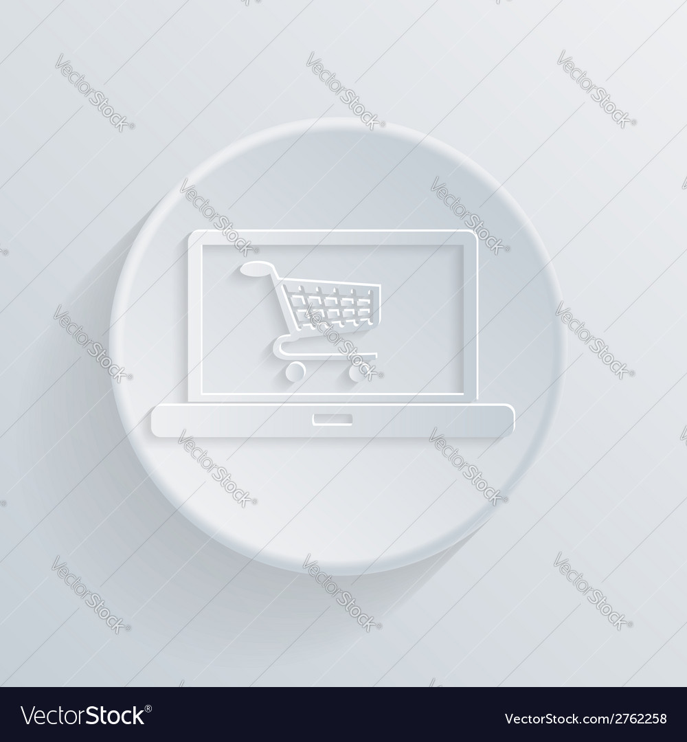 Circle icon laptop with symbol shopping cart vector | Price: 1 Credit (USD $1)