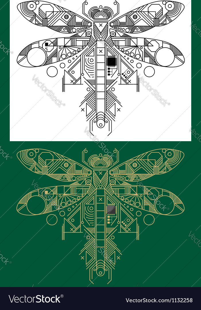 Dragonfly with computer motherboard elements vector | Price: 1 Credit (USD $1)