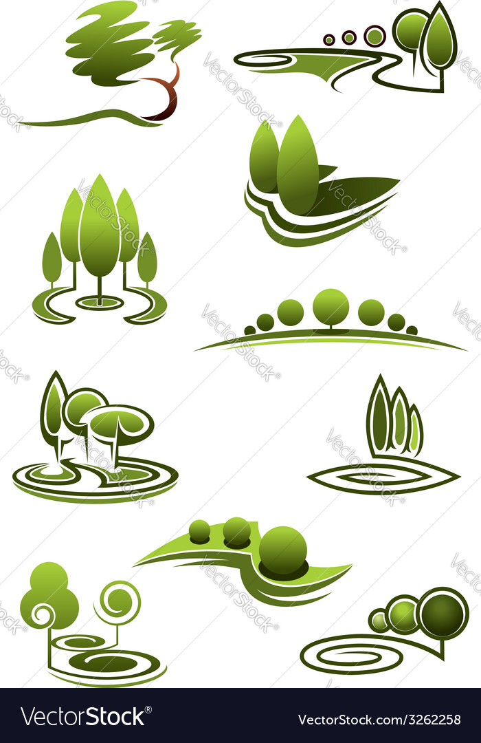 Green trees in landscapes icons vector | Price: 1 Credit (USD $1)