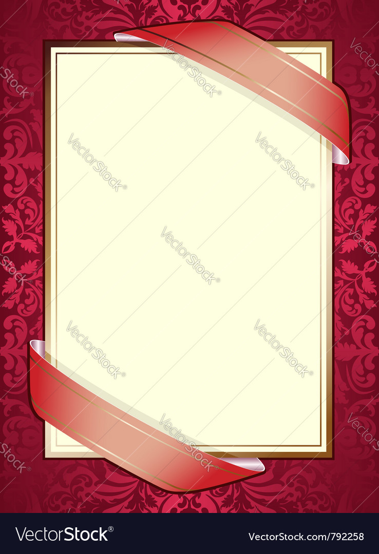 Invitation with ribbons on red background vector   Price: 1 Credit (USD $1)