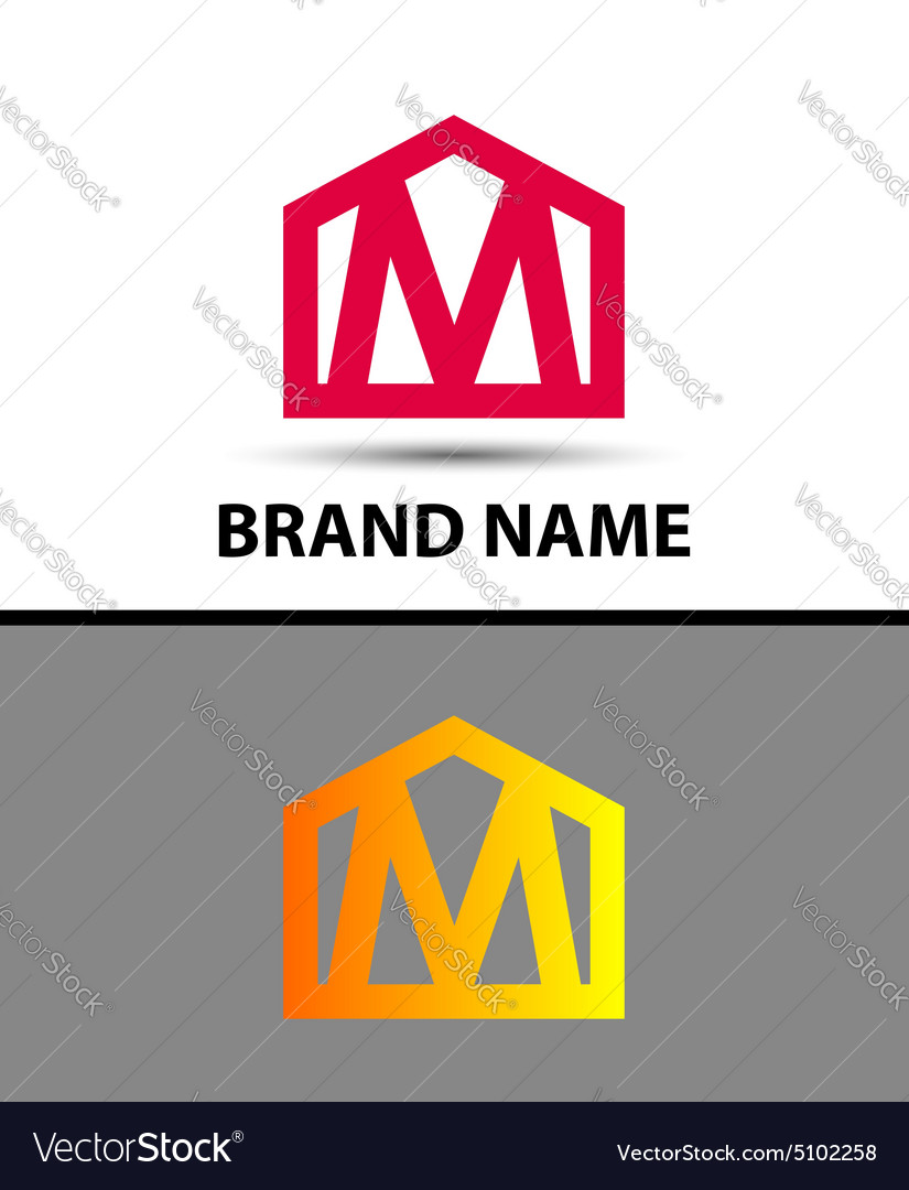 Letter m logo real estate symbol vector