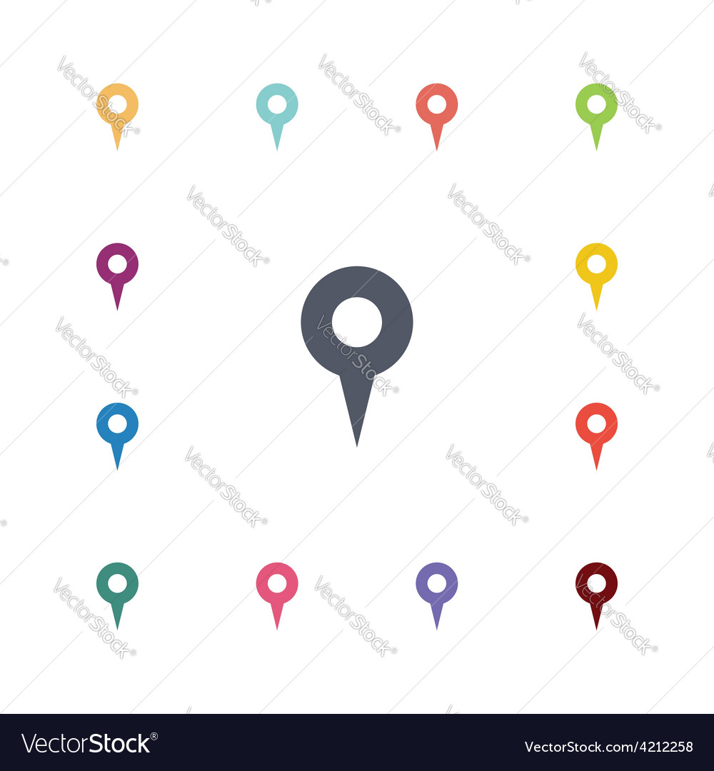 Map pin flat icons set vector