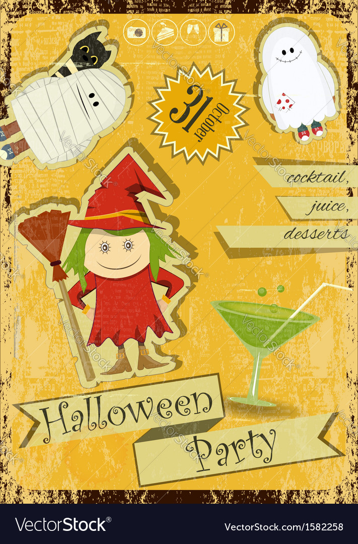 Retro halloween card with witch vector | Price: 1 Credit (USD $1)
