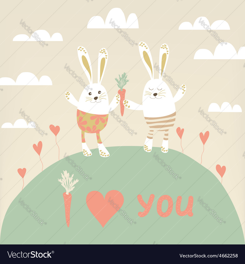 Romantic card with cute rabbits in love happy vector | Price: 1 Credit (USD $1)