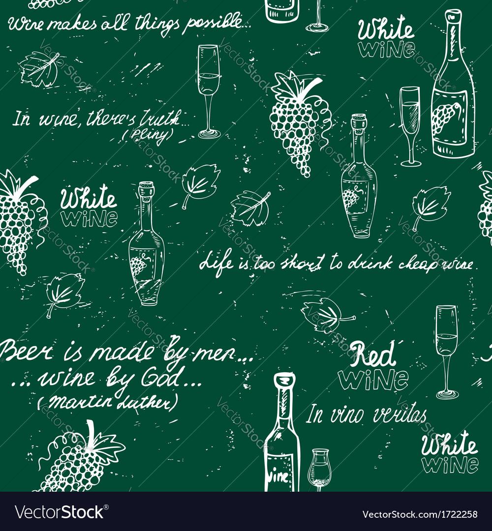 Seamless wine pattern chalkboard vector | Price: 1 Credit (USD $1)