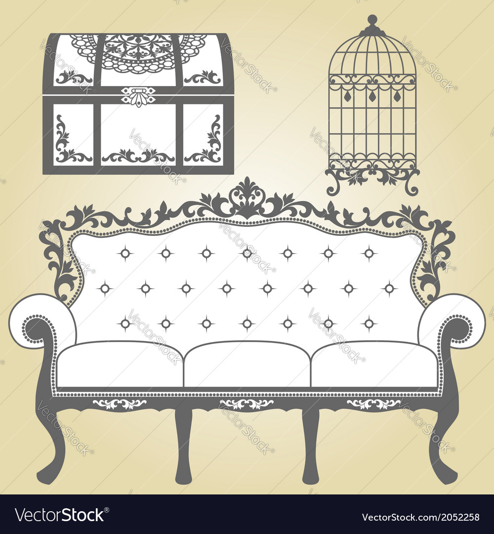 Vintage sofa vintage bird cage and vintage trunk vector | Price: 1 Credit (USD $1)