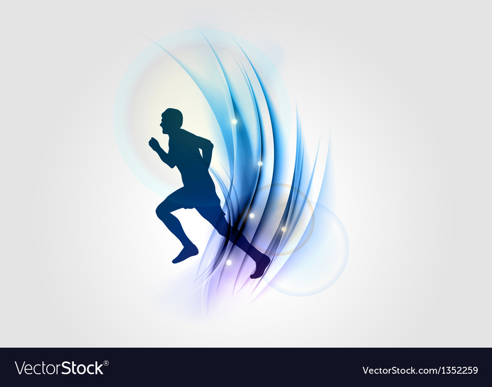 Abstract white blue runner vector | Price: 1 Credit (USD $1)
