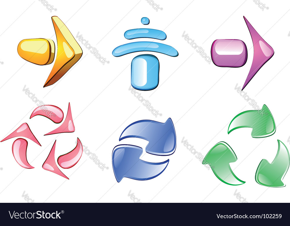 Arrow glossy icons vector | Price: 1 Credit (USD $1)