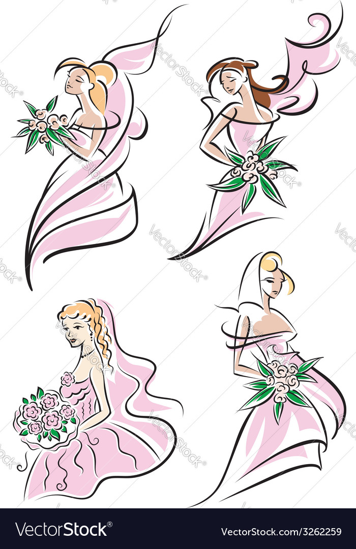 Beautiful brides set vector | Price: 1 Credit (USD $1)