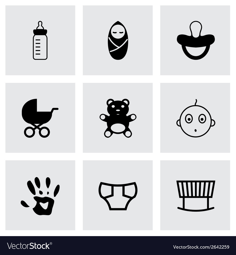 Black baby icons set vector | Price: 1 Credit (USD $1)